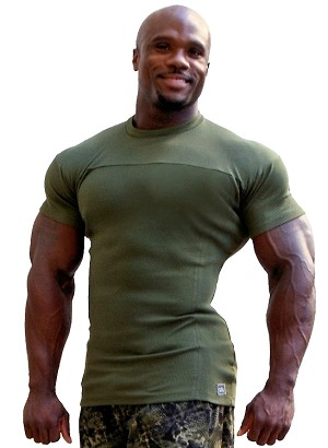 Style 400R Stretch Rib Tapered to Waist Muscle Top Army Green With Bodybuilder,Dedication, Red Swirl