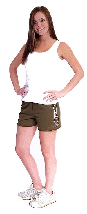 Style 900WS Micro blend olive relaxed fit training shorts curl design