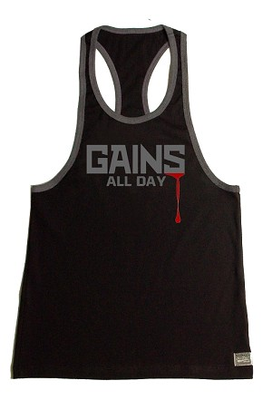 312R  Black Tank Top With Grey Trim With Gains All Day Graphics