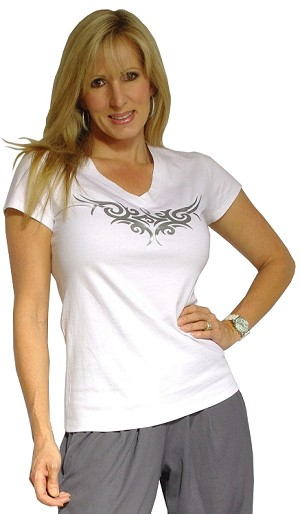 Fitted V Neck Wht Top With Athena Design in Silver
