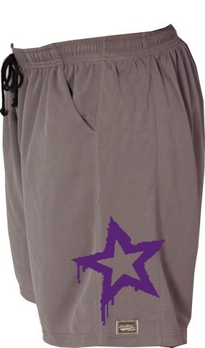Style 600MS Micro blend Grey training shorts with Purple Physique Star
