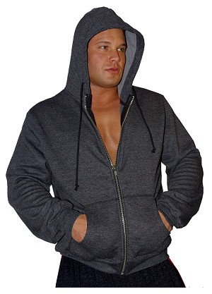 Mens Relaxed Fit Hoodie- Solid Charcoal Grey