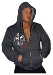 Mens Relaxed Fit  Crazee Hoodie- Charcoal Grey With White Mega Muscle Man and Crazee Decor