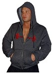 Mens Relaxed Fit  Crazee Hoodie- Charcoal Grey With Versa Red Barbell
