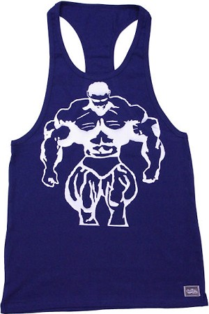 312R  NavyTank Top with huge muscle man
