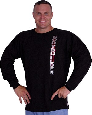 Style 444FT Black Sweat Shirt  Top with red tribal and silver bodybuilder