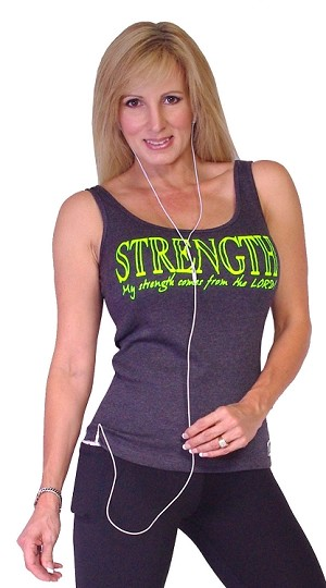 315 Charcoal Tank Top  With My Strength Comes From The Lord In Neon Green