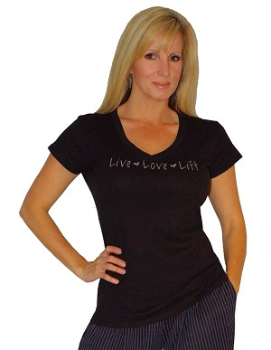 Fitted V Neck Blk Top With grey Live- Love- Lift Clearance