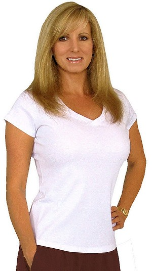 Fitted V Neck Wht Top