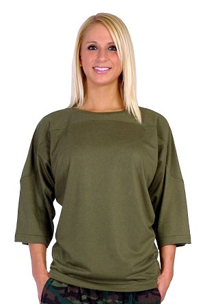 Style 4443/4 Sleeve Relaxed Fit Army Green  Top