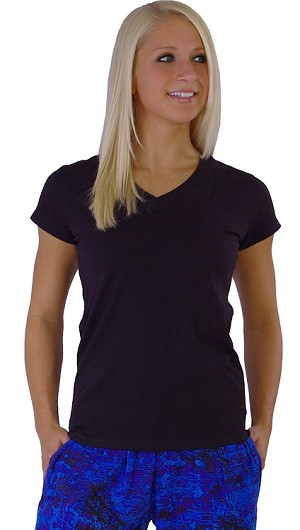 Style 330 Classic Solid Black V-Neck U.S. Made by Crazee Wear to Fit