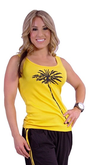 315R Yellow Tank Top W/black palm tree