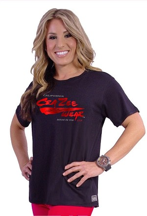 Custom Tee (black) With Red Wave Crazee Wear Logo