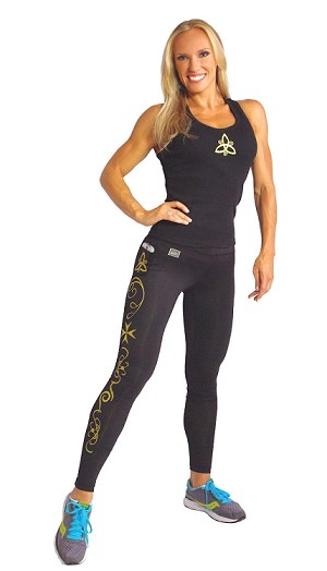 Style 150L Solid  Black Leggings With Gold Prism Design