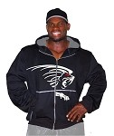 Mens Relaxed Fit  Crazee Hoodie- Black With White Lion And Red Paws On Back