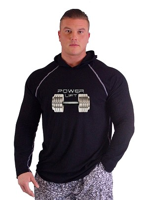 T-Shirt Pacific Hoodie Bllack Pacific Hoodie With Power Lift Chrome Dumbell