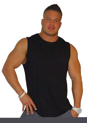 Style325MB Solid Black Sleeveless Tee  With White Small Mega Muscle Man Clearance