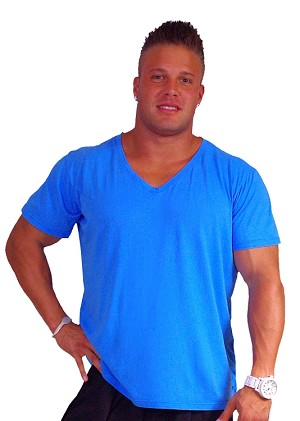 New Style 680V Aqua Blue, summer cool, light weight,  Relaxed Fit  V-Neck