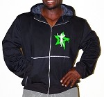 Mens Relaxed Fit  Crazee Hoodie- Black With White Physique Nation Neon Green Star