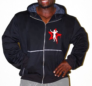 Mens Relaxed Fit  Crazee Hoodie- Black With White Physique Nation Neon Red Star