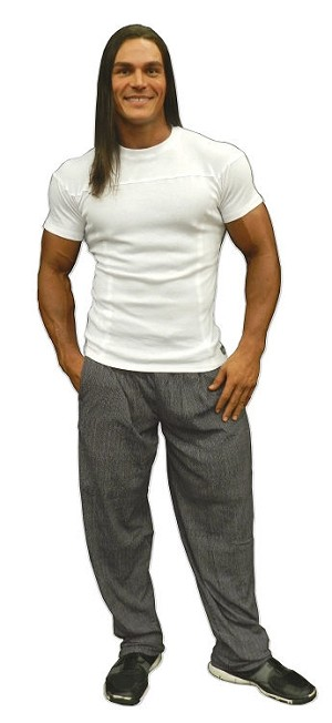 Style 400R White Malibu Stretch Rib Tapered to Waist Fitted Top