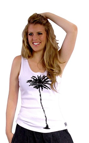 315 Wht Tank Top With Black Palm Tree