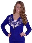 Style 800WH Royal Blue Ladies Hoodie With CZW Wing in white