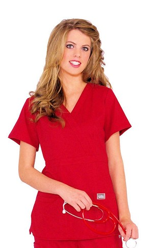 WFT Women's Fitted Red Top With black collar design Clearance