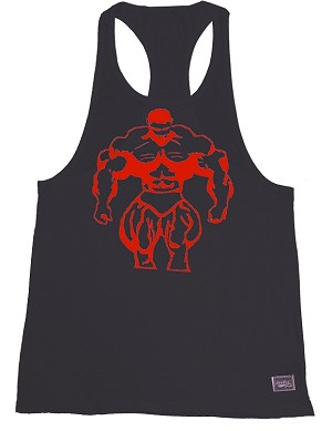 312R Rib Black Tank Tops W/large Red Muscle Man