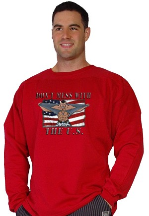 Style 444FT Red Sweat Shirt with Versa Don't Mess U.S.