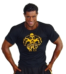 310s Black Spandex/Cotton Muscle Top with Mega Muscle Man in yellow