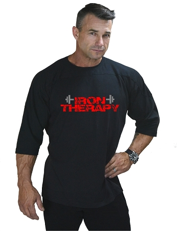 T-Shirt Style 444 3/4 Black Relaxed Fit With Iron Therapy Design