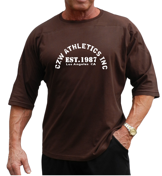 T Shirt Style 444 3 4 Brown Relaxed Fit With Czw Athletics Design