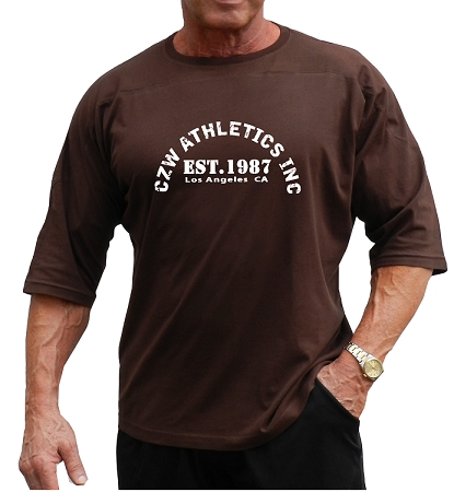 T-Shirt Style 444 3/4 Brown Relaxed Fit With CZW Athletics Design