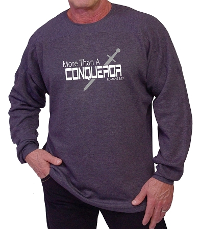 Style 444ft Charcoal Grey Sweat Shirt  With More Than Conqueror Design