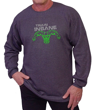 Style 444ft Charcoal Grey Sweat Shirt  With Train Insane And Super Hero In Neon Green Design