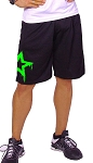 Style 600MS Micro blend black training shorts with Neon Green  Physique Star