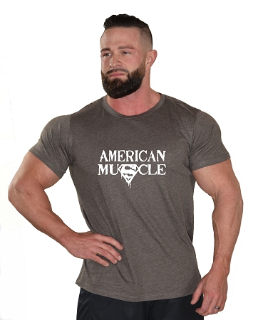 Brown Crazee Custom Tee With American Muscle Design