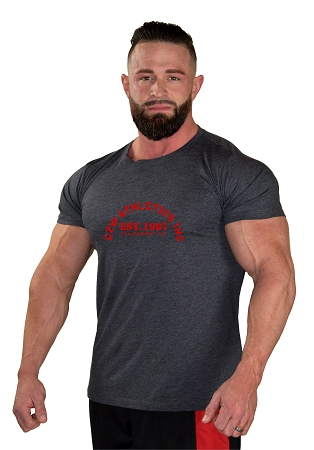 Custom Tee/ Charcoal Grey Muscle Tee With CZW Athletics INC In Red
