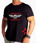 Custom Tee/Black Relaxed Fit Muscle Tee With Versa God Bless America