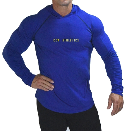 Fitted T-Shirt Pacific Hoodie ( Cobalt Blue)  For Men And Women With Sleek CZW Athletics In Yellow Design