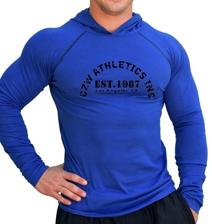 Fitted T-Shirt Pacific Hoodie ( Cobalt Blue)  For Men And Women With CZW Athletics In Black Design