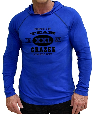 Fitted T-Shirt Pacific Hoodie ( Cobalt Blue)  For Men And Women With Team Crazee In Black Design