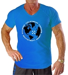New Style 670V Aqua Blue, summer cool, light , Fitted V-Neck With World Wide Design