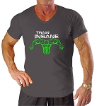New Style 670V Charcoal, summer cool, light , Fitted V-Neck With White Train Insane And Neon Green Superhero