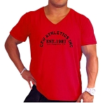 New Style Red 680V  Relaxed Fit  V-Neck  With CZW Athletics Design