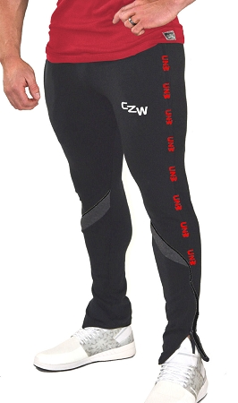 Crazee Wear Solid Black Jogger Pants For Men And Women With Red CZW