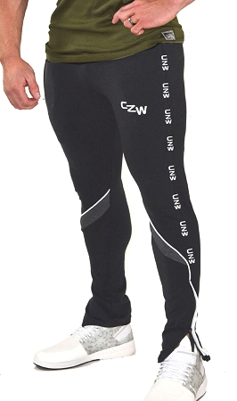 Crazee Wear Solid Black With White Trim Jogger Pants For Men And Women With  CZW In White