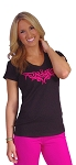 Fitted V Neck Blk Top With Pink Athena Design
