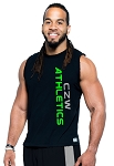 Style325MB Solid Black Sleeveless Tee With Neon Green Athletics And Grey CZW